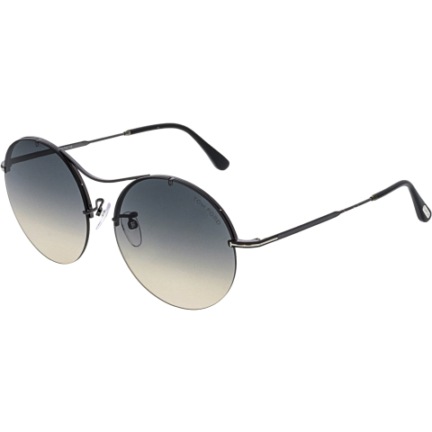 Tom Ford Women's FT0565-08B-58 Black Round Sunglasses