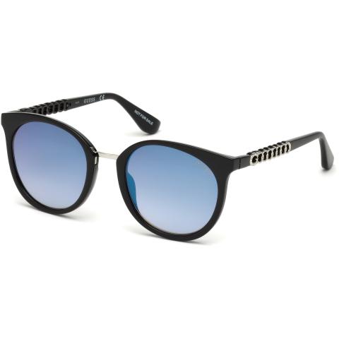 Guess Women's Mirrored Gu7544 GU7544-S-01X-52 Black Round Sunglasses
