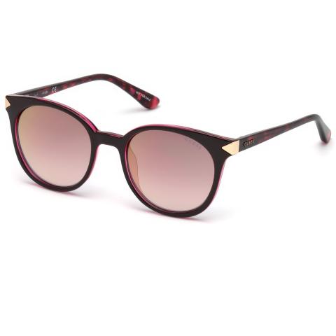 Guess Women's Mirrored Gu7550 GU7550-77U-52 Pink Sunglass