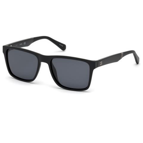 Guess Men's Polarized Gu6928 GU6928-02D-56 Black Rectangle Sunglasses