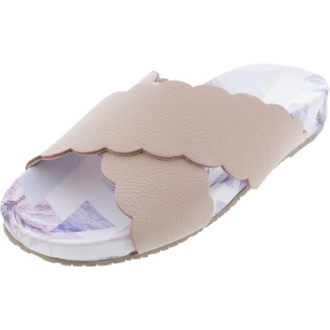 Kaanas Women's Pattaya Scalloped Pool Slide Leather Sandal