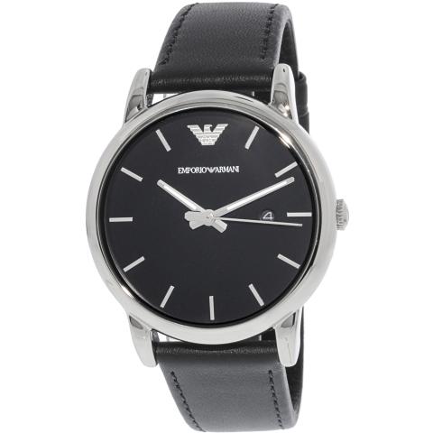 Emporio Armani Men's Classic AR1692 Black Leather Japanese Quartz Dress Watch