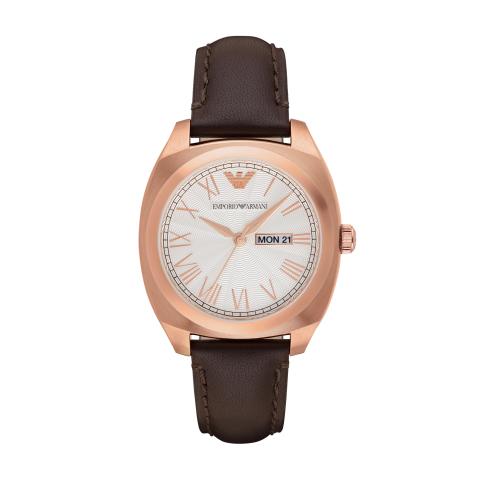 Emporio Armani Men's Gamma AR1939 Rose-Gold Leather Japanese Quartz Dress Watch
