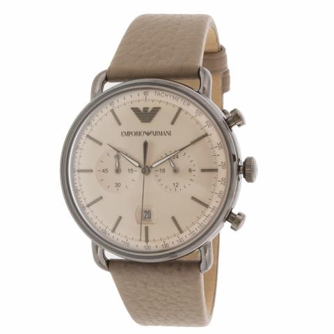 Emporio Armani Men's Aviator AR11107 Grey Leather Quartz Fashion Watch