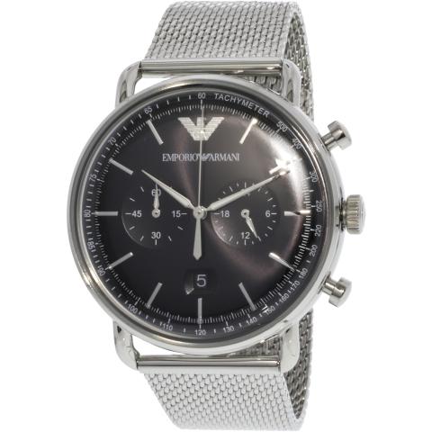 Emporio Armani Men's Aviator AR11104 Silver Stainless-Steel Quartz Dress Watch
