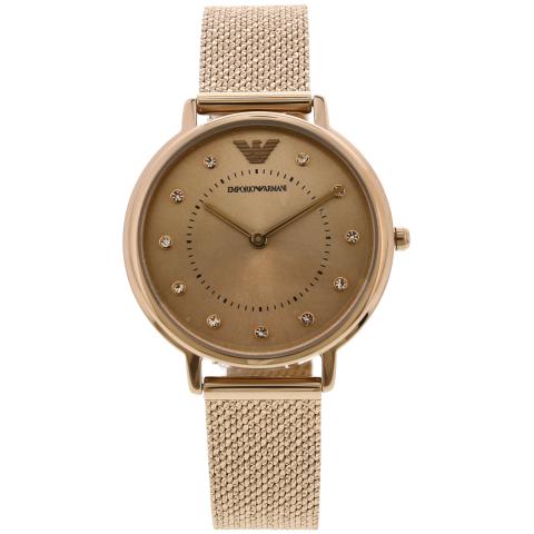 Emporio Armani Women's Analog Rhinestone AR11129 Rose-Gold Stainless-Steel Japanese Quartz Dress Watch