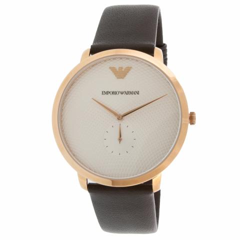 Emporio Armani Men's Modern Slim AR11163 Rose-Gold Leather Japanese Quartz Dress Watch