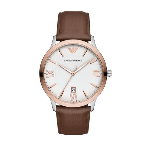 Emporio Armani Men's Giovanni AR11211 Rose-Gold Leather Quartz Fashion Watch