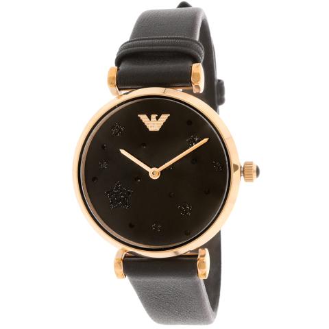 Emporio Armani Women's Gianni T-Bar AR11225 Black Leather Quartz Fashion Watch