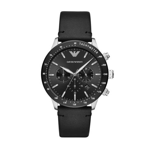 Emporio Armani Men's Mario AR11243 Black Leather Quartz Sport Watch