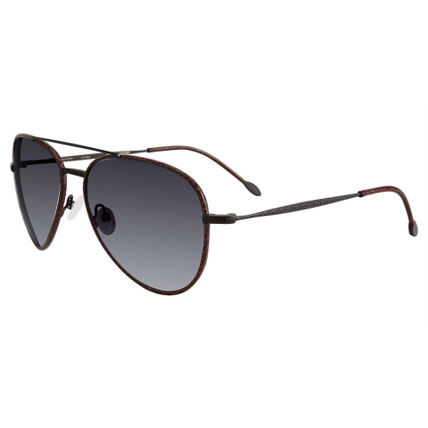 John Varvatos V512BLA60 Gradient Aviator Sunglasses Brown/Black