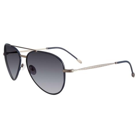 John Varvatos V512GUN60 Gradient Aviator Sunglasses Black/Silver