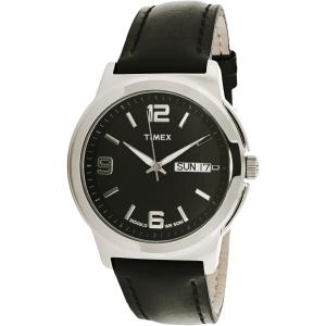 Timex Men's Elevated Classics T2E561 Black Leather Quartz Watch