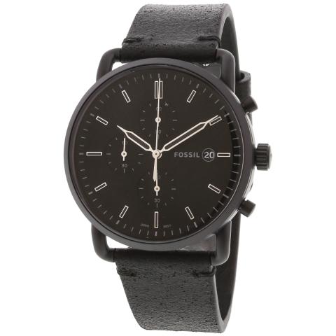 Fossil Men's Commuter FS5504 Black Leather Japanese Quartz Dress Watch