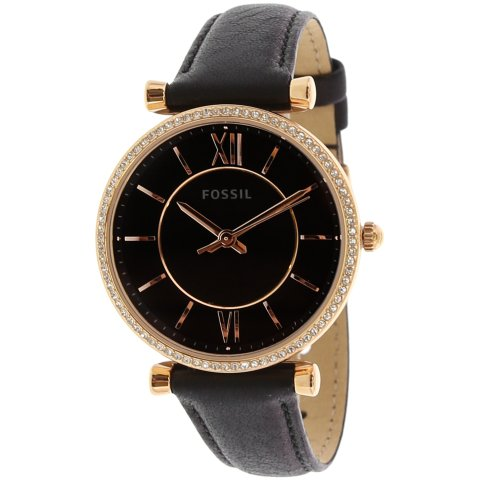 Fossil Women's Carlie ES4507 Rose-Gold Leather Japanese Quartz Fashion Watch