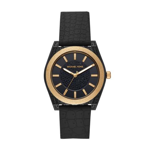 Michael Kors Women's Channing MK6703 Black Silicone Quartz Fashion Watch