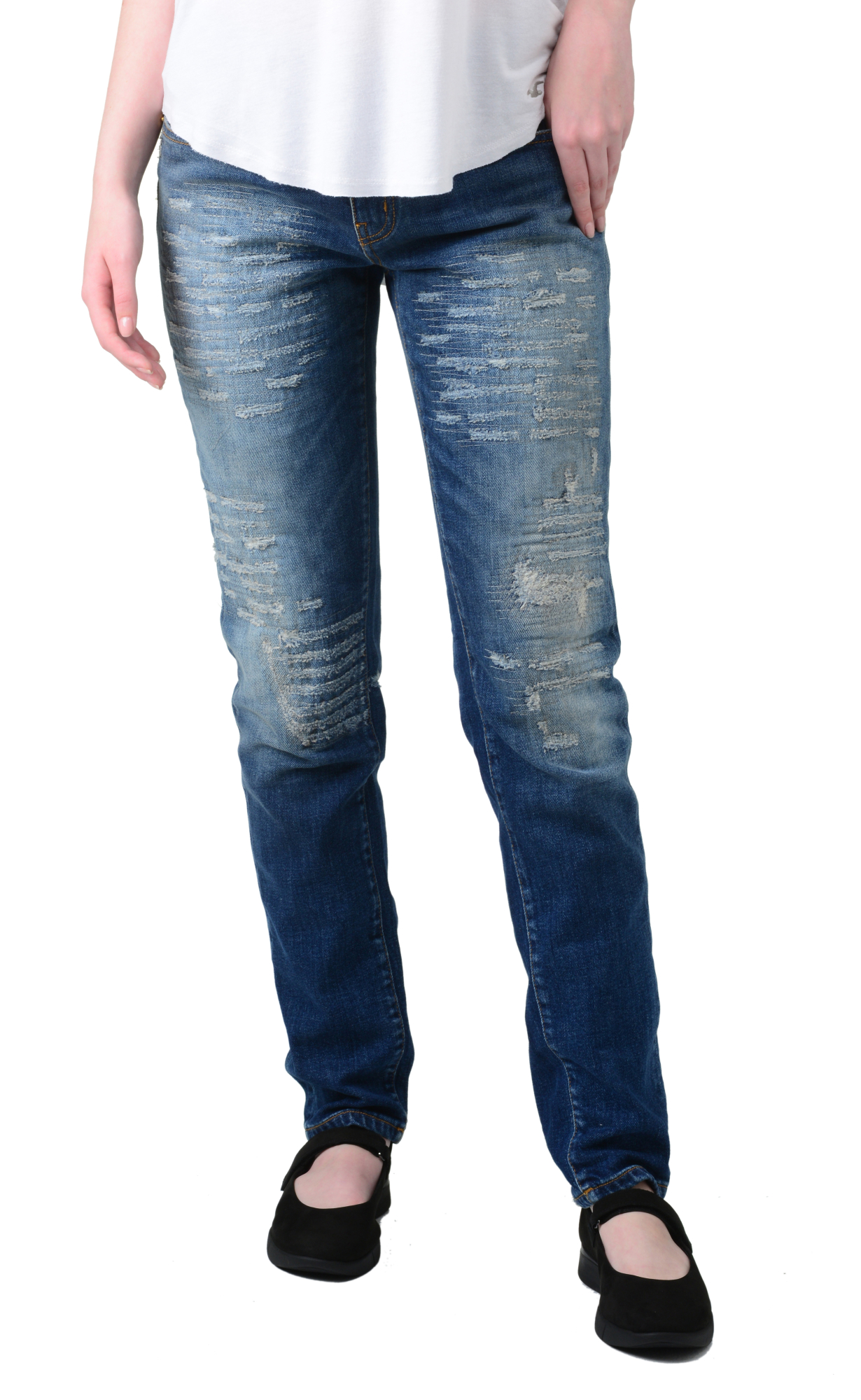 Image of Roberto Cavalli Jeans, Distressed Detailing, Gold Metallic Logo - 6 US / 42 EU - Blue