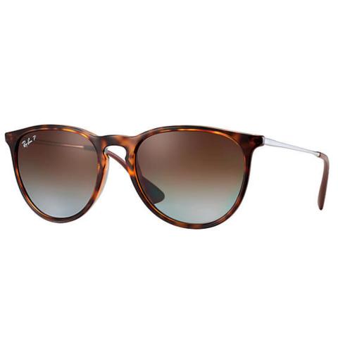 Ray-Ban Women's Polarized Erika RB4171-710/T5-54 Brown Round Sunglasses