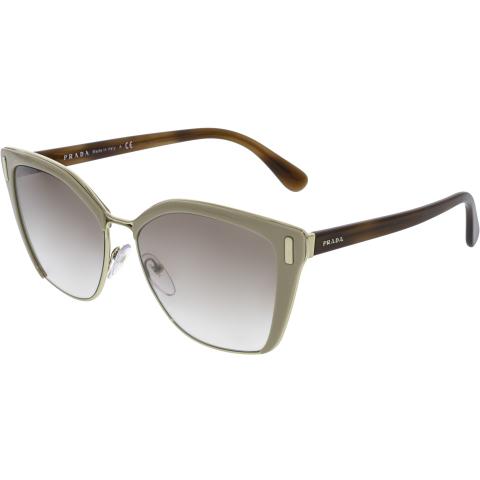Prada Women's Mirrored PR56TS-VHR4O0-57 Brown Cat Eye Sunglasses