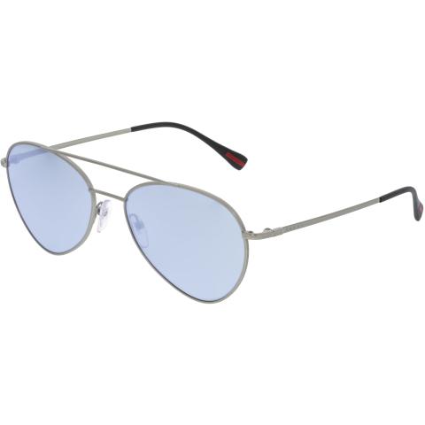 Prada Men's PS50SS-1AP5Q0-57 Silver Aviator Sunglasses