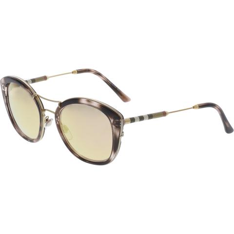 Burberry Women's Mirrored BE4251Q-36637J-53 Brown Cat Eye Sunglasses