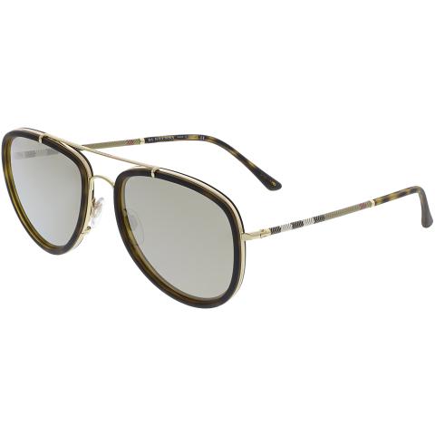 Burberry Men's Mirrored BE3090Q-10525A-58 Brown Aviator Sunglasses