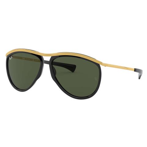 Ray-Ban Olympian Aviator RB2219-901-3159-13 Black Round Sunglasses