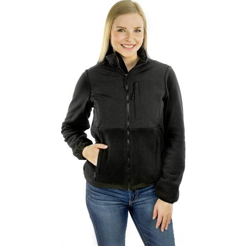 Exotic Identity Fleece Full Zip Jacket, Three Zipper Pockets, High Collar, Lightweight, Waist Drawstring, Cozy Comfort