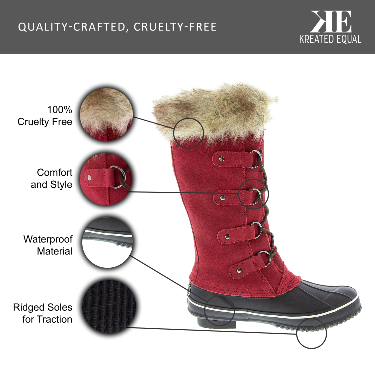 Kreated-Equal-Faux-Fur-Women-039-s-Tall-Arctic-Winter-Boots-Cruelty-Free-Lightw thumbnail 28