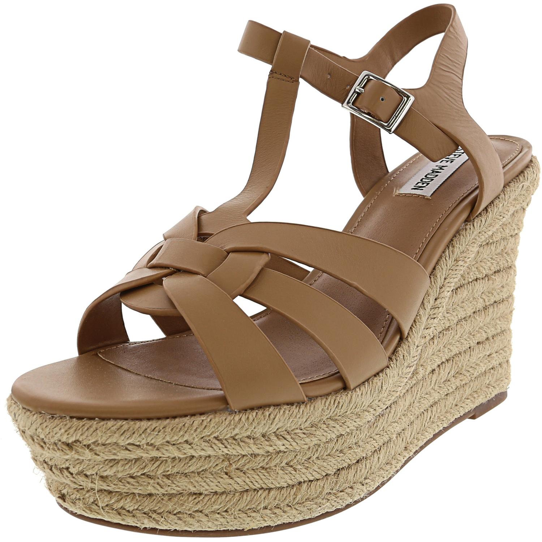 Steve Madden Women's Keesha Leather Ankle-High Wedged Sandal