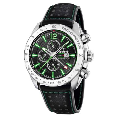 Festina Men's Chrono Sport F20440-3F37 Black Leather Quartz Watch