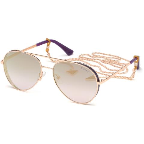 Guess Women's Mirrored Gu7607 GU7607-28X-58 Rose-Gold Round Sunglasses