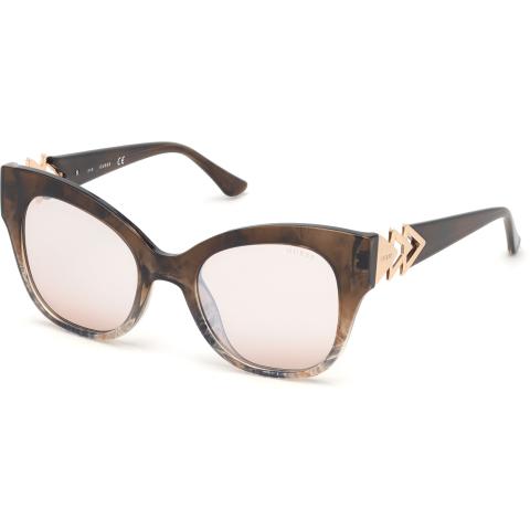 Guess Women's Mirrored Gu7596 GU7596-55G-52 Brown Cat Eye Sunglasses