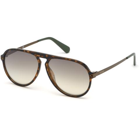 Guess Men's Mirrored Gu6941 GU6941-55Q-59 Brown Round Sunglasses