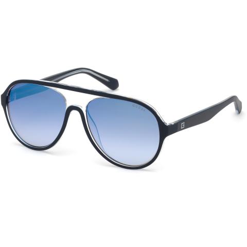 Guess Men's Mirrored Gu6942 GU6942-92X-57 Blue Round Sunglasses
