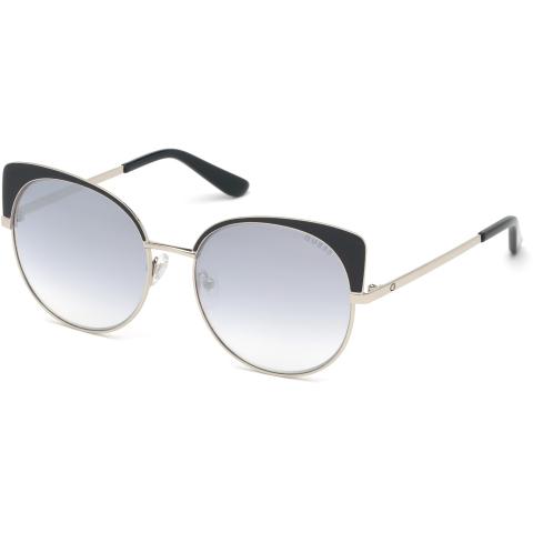 Guess Women's Mirrored Gu7599 GU7599-05C-56 Black Round Sunglasses