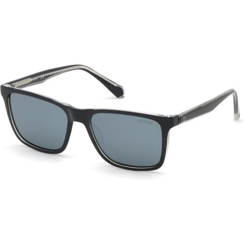 Guess Men's Mirrored Gu6935 GU6935-05C-57 Black Rectangle Sunglasses