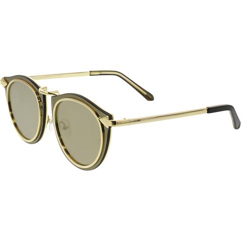 Karen Walker Women's Superstars Solar Harvest KAS1701408 Gold Round Sunglasses