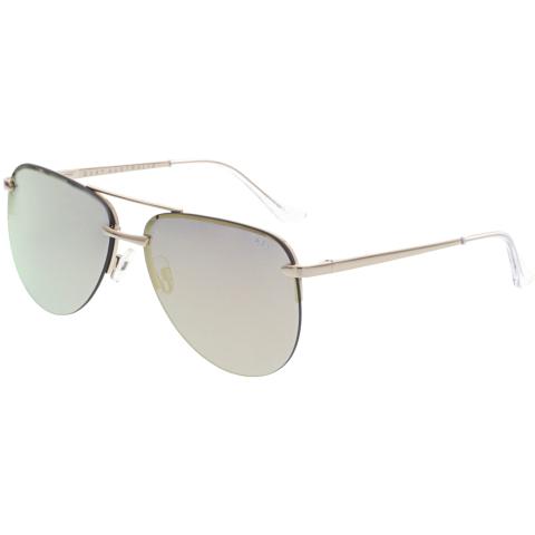 Quay Women's Mirrored The Playa QW-000156-GOLD/PNK Gold Aviator Sunglasses