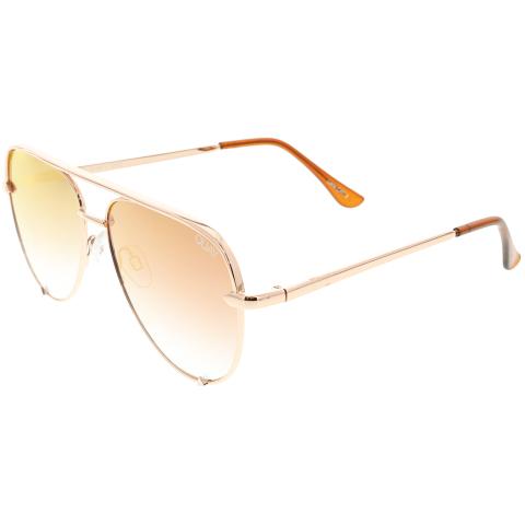 Quay High Key Mini QC-000268-ROSE/CPRFD Rose / Copper Fade Aviator Sunglasses