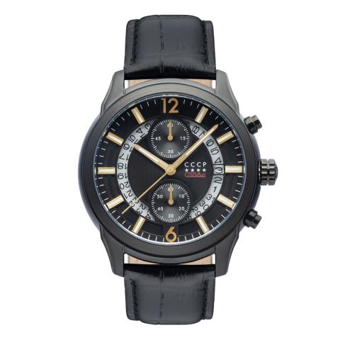 Cccp Men's Balaklava CP-7038-09 Black Leather Japanese Chronograph Sport Watch