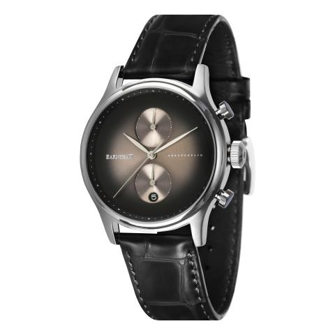 Thomas Earnshaw Men's Bauer Fumee Chronograph ES-8094-01 Silver Leather Japanese Quartz Sport Watch
